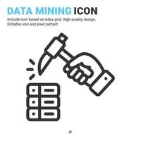 Data mining with hand icon vector with outline style isolated on white background. Vector illustration database sign symbol icon concept for digital IT, logo, industry, technology, apps, web and more