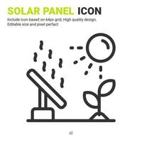 Solar panel icon vector with outline style isolated on white background. Vector illustration solar energy sign symbol icon concept for digital farming, technology, industry, agriculture and project