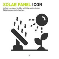 Solar panel icon vector with glyph style isolated on white background. Vector illustration solar energy sign symbol icon concept for digital farming, technology, industry, agriculture and project