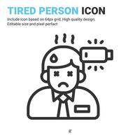 Tired person icon thin line isolated on white background. Vector design illustration stress, burnout workplace, exhausted or fatigue, lack energy sign symbol icon concept for business. Editable stroke