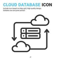 Cloud database icon vector with outline style isolated on white background. Vector illustration data server sign symbol icon concept for digital IT, logo, industry, technology, apps, web and project