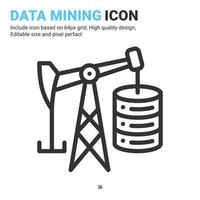 Data mining icon vector with outline style isolated on white background. Vector illustration database sign symbol icon concept for digital IT, logo, industry, technology, apps, web and all project