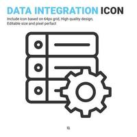 Data integration icon vector with outline style isolated on white background. Vector illustration database sign symbol icon concept for digital IT, logo, industry, technology, apps, web and project