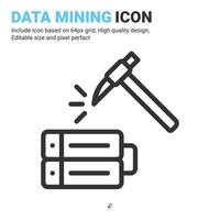 Data mining icon vector with outline style isolated on white background. Vector illustration database sign symbol icon concept for digital IT, logo, industry, technology, apps, web, ui, ux and project