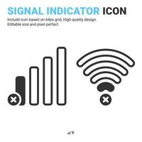 Empty network level vector icon isolated on white background. Vector design signal indicator, mobile carrier level, radio strength level sign symbol icon concept for apps, connection and technology