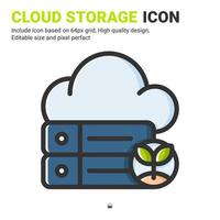Cloud storage icon vector with outline color style isolated on white background. Vector illustration database sign symbol icon concept for digital farming, technology, industry, agriculture and apps