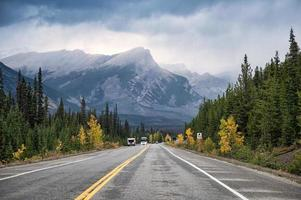 Scenic road trip with rocky mountain in autumn pine forest at Banff national park photo