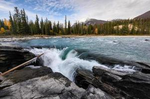 Athabasca Falls rapids flowing at sunset in Icefields Parkway at Jasper national park photo