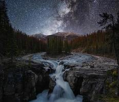 Sunwapta Falls with Milky way in autumn at Icefields Parkway, Jasper national park photo