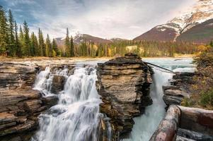 Athabasca falls rapids flowing is waterfall in Jasper national park photo