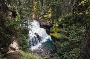 Johnston canyon waterfall flowing in deep forest at Banff national park photo