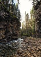 Johnston Canyon with stream flowing in rock cliff at Banff national park photo