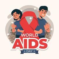 día mundial del sida personas con cinta vector
