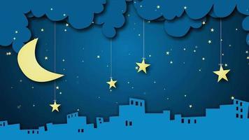 fundo de desenho animado - cidade noite lua e estrelas video