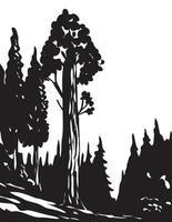 Wpa arte monocromo general Grant Tree Trail en el parque nacional Kings Canyon, Sierra Nevada, California, EE. UU. escala de grises en blanco y negro vector