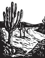 WPA Art Saguaro National Park in Pima County Arizona USA Grayscale Black and White vector