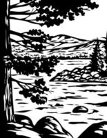 WPA Monochrome Art Emerald Bay State Park in South Lake Tahoe California Usa Grayscale Black and White vector
