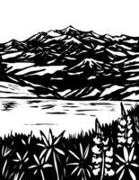 Wrangell and St Elias National Park Alaska WPA Black and White Art vector