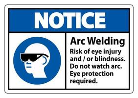 Caution Sign Arc Welding Risk Of Eye Injury And Or Blindness vector