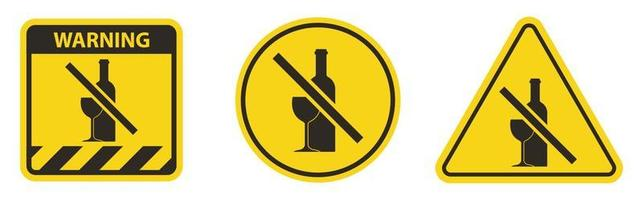 No drinking sign, no alcohol, prohibited activitive vector