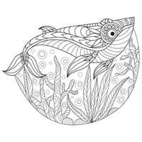 Whales hand drawn for adult coloring book vector