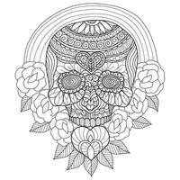 Skull and heart hand drawn for adult coloring book vector