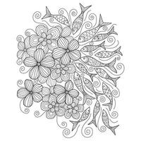 Fish and flowers hand drawn for adult coloring book vector