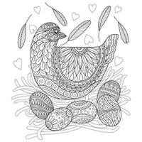 Chicken and eggs hand drawn for adult coloring book vector