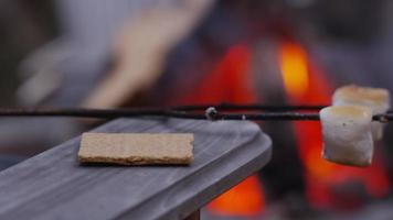 Making smores by outdoor fire. Shot on RED EPIC for high quality 4K, UHD, Ultra HD resolution. video