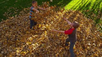 Overhead shot of children playing in fall leaves. Shot on RED EPIC for high quality 4K, UHD, Ultra HD resolution. video