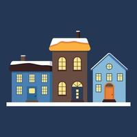 A set of small cute houses with a bright roof in the snow, light in the windows and chimneys. Merry holiday decorations for New Year and Christmas. Winter and festive element vector