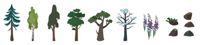Set of icons of trees birch, oak, spruce and their silhouette. Green and brown nature symbol vector