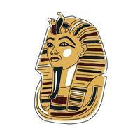 Egyptian golden pharaohs mask icon flat isolated vector