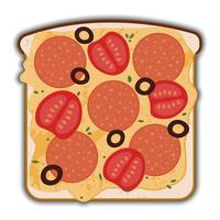 Tasty pepperoni and cheese sandwich with shadow vector