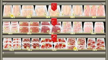 Fresh meat packed in trays on the counter of the butcher store. vector
