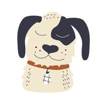 The head of a cute dog with dark ears vector