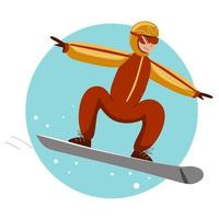 A cheerful snowboarder rides a snowboard vector