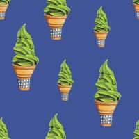 Matcha Green Tea Soft Serve Ice Cream, Blue Background vector