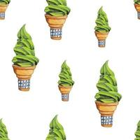 Matcha Green Tea Soft Serve Ice Cream seamless, White Background vector