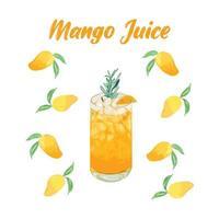 Iced Mango Juice Vector, Mango Menu vector