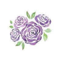 Violet Rose Watercolor, Purple Rose vector