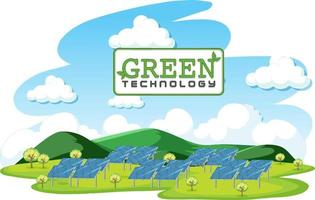 Green energy generated by solar panel vector