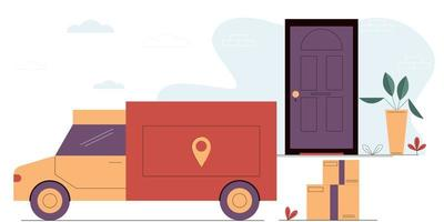 Truck brings cardboard boxes to the door of the house. vector