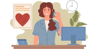 Smiling female pharmacist stands behind the counter in a pharmacy vector