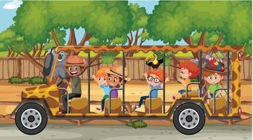 Safari scene with children watching on a tourist car vector