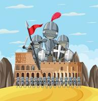 Knight and Colosseum on white background vector