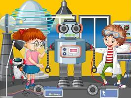 Scene with children building robot together vector