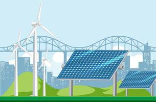 Green energy generated by wind turbine and solar panel vector