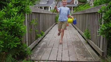 Kids walking across bridge. Shot on RED EPIC for high quality 4K, UHD, Ultra HD resolution. video