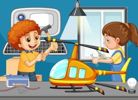 Scene with children repairing toy helicopter together vector